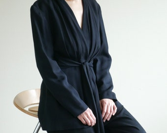 Black Crepe Rayon Wrap Jacket