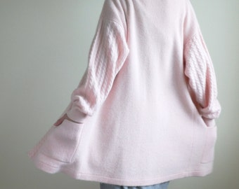 Soft Pink Wool Long Cardigan