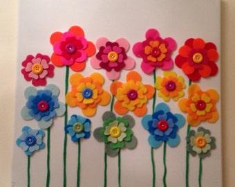 Beautiful Handcrafted 'Flower Garden' Canvas