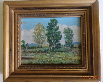 Oil on wood framed lanscape