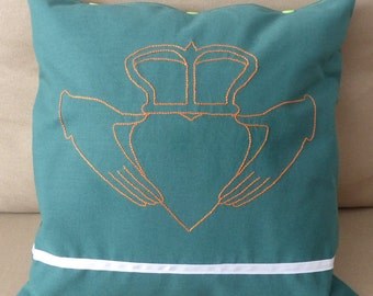 """""""Claddagh"""" - Ireland hand embroidered pillow"""