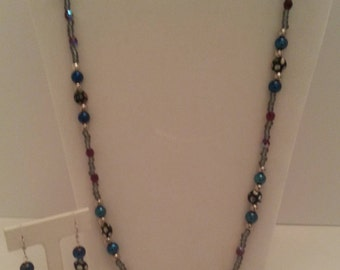 """26"""" Beaded Necklace, Silver, Blue and Red Czech glass beads with coordinated earrings"""