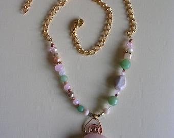 Pink blossom zen necklace