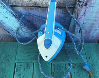 Vintage Sunbeam Travel Iron Steam SW-A Sunbeam Today Blue Green Small Mini Cloth Covered Cord Cloth Cord