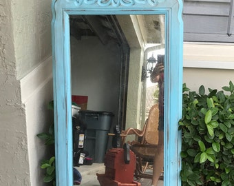 Miirror, Vintage, Shabby Chic, Blue, Not So Shabby