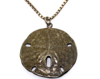 Vintage Sand Dollar box Chain Pendant Necklace 925 Sterling Silver NC 821