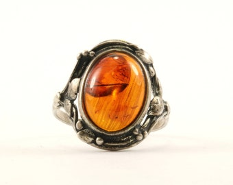 Vintage Oval Natural Amber Stone Ring 925 Sterling Silver RG 2169-E