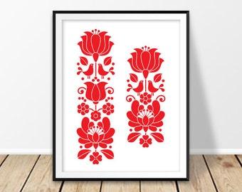 Hungarian folk art, Kalocsa design, Floral download, Digital print, Red pattern flowers, Hungary art, Rustic wall art, Folk birds, poster