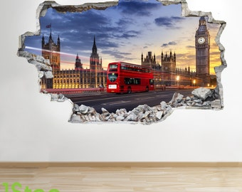 London Wall Sticker 3d Look - Bedroom Lounge London Bus Wall Decal Z6