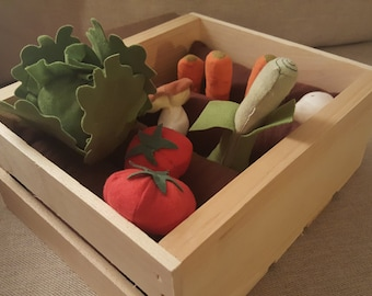 Vegetable Garden Set, Felt Food, Play Food Set, Montessori Toy, Wood Toys, Kids Kitchen