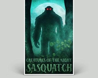 Spooky Sasquatch Bigfoot Monster Print | 11 x 17 Poster | Tabloid | Science Fiction Fantasy Horror | Digital Art Print