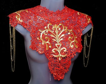 Steampunk red lace collar. Statement necklace of red lace, gold embroidery and chain shoulder epaulettes. 'Body Tattoo'