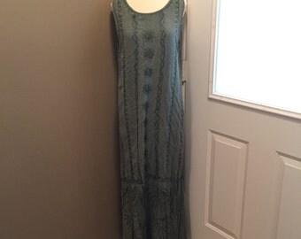Green Embroidered Boho Madi Dress