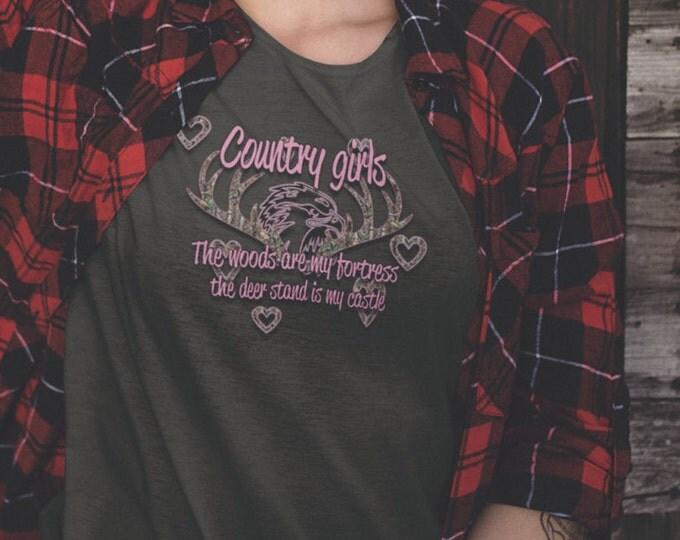 Country girls, hunter shirt, country cute sayings, women's shirt, v neck womens shirt, country girl sayings,