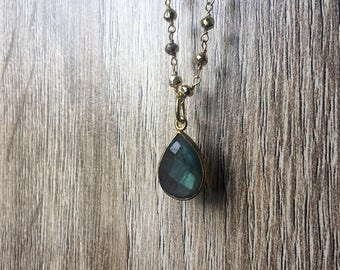 Labradorite Necklace - Gemstone Necklace -  Gold Pyrite wire wrapped necklace - Labradorite Jewelry - bezel set necklace - Teardrop Necklace