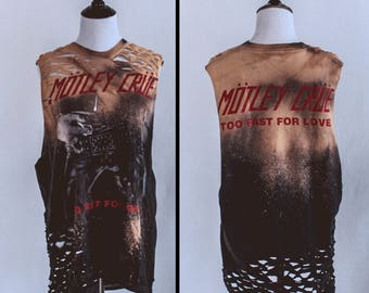 Motley Crue bleached distressed shirt - Reworked band tee