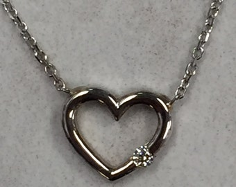 """14kt White Gold  Open Diamond Heart With 16"""" Link Chain Included"""