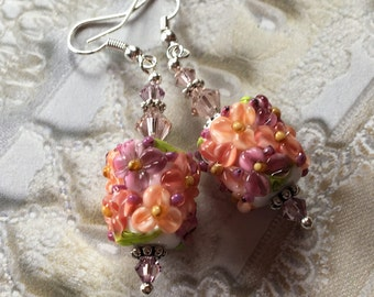 Mothers Day Gift, Peach Flower Lampwork Earrings/Peach and White Flowers, Floral Earrings, Lampwork Jewelry, Mothers Day, Gift For Her
