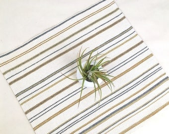 Handwoven table runner, Cotton table runner, Modern table linens, Striped table runner, Rustic table topper, Hand woven table runner, Gift