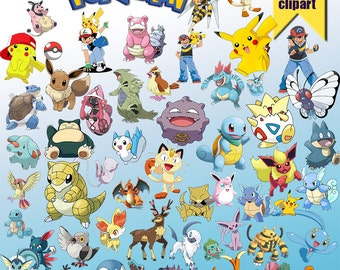 58 Pokemon ClipArt-Printable Pokemon PNG Images-Digital Pokemon Clip Art background files-Pokemon Scrapbooking-Instant Digital Download
