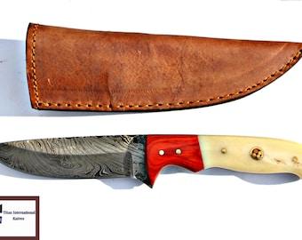 DAMASCUS KNIFE/ Titan/ Pekka Wood & Camel Bone TD-106