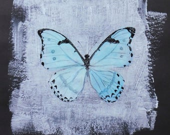 Blue butterfly art. original acrylic painting. butterfly nursery decoration. home deco. Insect, bug, moth, animal, A4 painting. black paper