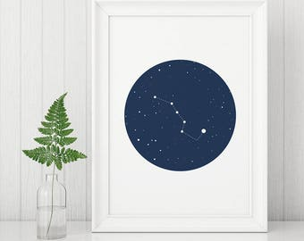 Ursa Major, Galaxy Poster, Big Dipper Print, Constellation Poster, Big Dipper, Little Dipper, Solar System Poster, Solar System Print
