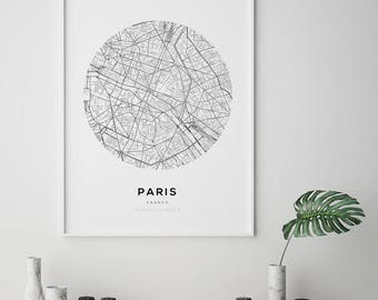 Paris Map Print, Paris Carte, Paris City, Paris Map Poster, France City, City Map Print, Black and White Map, France, France Print