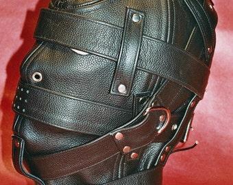Genuine Leather Hood, Leather Sensory Deprivation Hood, Black, Cosplay