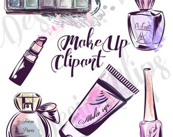 Makeup Clipart Cosmetic Clip Art Fashion Illustration Girl Planner Cover Beauty Blog Theme Perfume Graphics Lipstick
