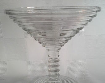 Manhattan Comport or Martini Glass - ''Horizontal Ribbed'' Anchor Hocking, 1938-1943