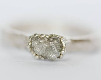 Silver Diamond Engagement Ring: raw uncut diamond ring, rough diamond ring, grey diamond ring, uncut raw diamond, natural rough engagement