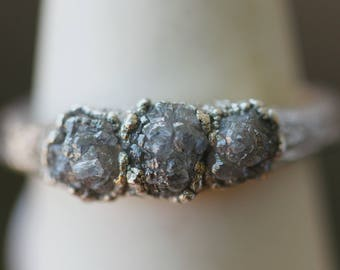 Raw Diamond Ring: rough diamond ring, ring for girlfriend's birthday, april birthstone ring, raw stone ring, natural diamond ring raw earthy