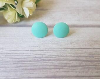 Mint stud earrings, Mint studs, Everyday earrings mint, Minimalist earrings, Everyday studs, Mint green earrings, Simple stud earrings