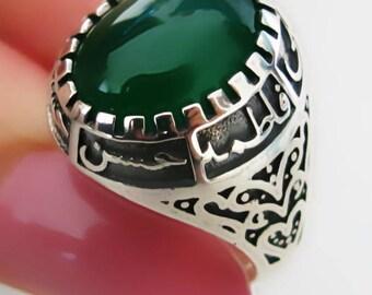 Handmade Shia Allah Ring Men's Woman's Yemeni Aqeeq Ahlulbayt Ahl-ul-Bait solid 925 Sterling Silver Panjtan Islam Green Agate
