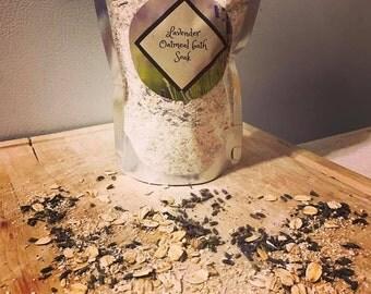 Lavender Oatmeal bath Soak, handmade oatmeal lavender soak, all natural bath soak, bath soak