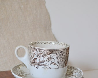 Antique brown transferware tea cup and saucer set by Grosvenor