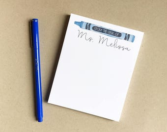 Crayon Teacher Notepad Small - Hand Painted Watercolor - Handwritten Design - Personalized Kid's Stationery - Teacher Gift - Back to School