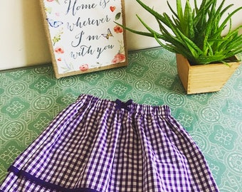 Handmade Gingham School Skirt. Double Layered with elasticated waist