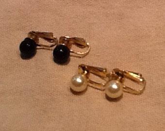 Faux pearl costume earrings