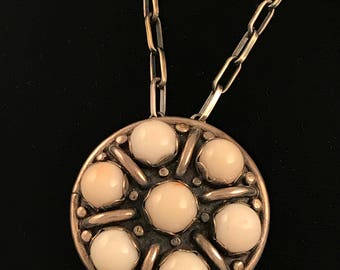 """Vintage Patania sterling silver and angel skin coral pendant, by Carmelo """"Pat"""" Patania"""