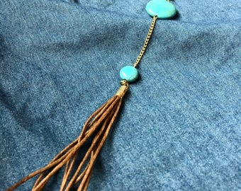 Turquoise and Cord Tassel Gold Necklace