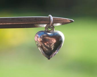 Vintage Sterling Silver Tiny Heart Pendant Vintage Retro st