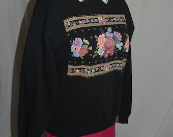 Vintage Morning Sun Collared Pullover Sweater / Sweatshirt with Floral Print -  Size Medium