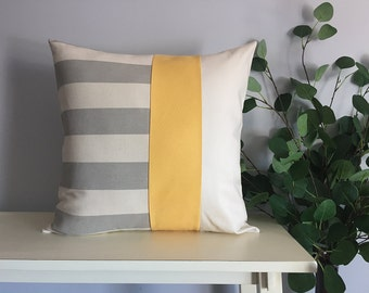 Decorative Pillow Cover, Color Block Pillow, Pillow with Yellow Stripe