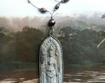Grey stone Buddha pendant  necklace .