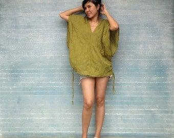 Apple Green Boho Oversized V Neck Cotton Blouse - Wide Kimono Sleeves Shirt Beach Cover Ups - Karen TOP008