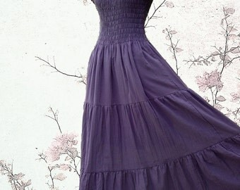 Long Summer Maxi Dress Romance Cotton Dress / Plum Purple Sundress Dress Women Off the Shoulder Smocked Tiered Dress - SS LD004