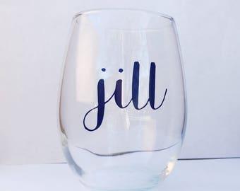 Personalized Wine Glass - Stemless Wine Glass - Wine Glass
