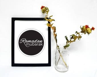 Ramadan Mubarak in English, Islamic Art Printable